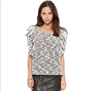 Sam & Lavi fringe knit black and white top